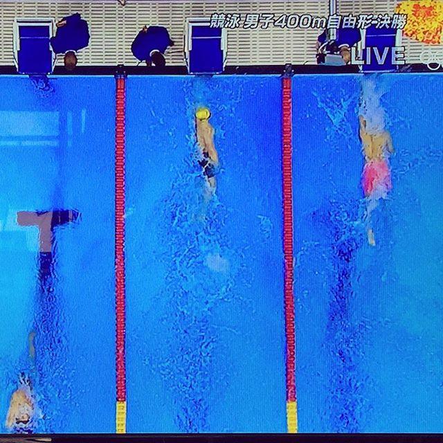 リオ五輪競泳の応援燃えるー!4個メの金メダル、銅メダル、おめでとう︎写真は400自由形ですが…私が400m自由形やっていたなんて、今の私から想像つかないですよね〜関東大会までは出場したよ@中学時代w